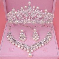 conjunto de joyas de novia perla al por mayor-Conjunto de joyería de fantasía cristal de la perla de la novia conjuntos de joyas nuevo diseño del Rhinestone Gargantilla Pendientes tiara nupcial de la boda de las mujeres