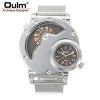 нержавеющая сталь oulm оптовых-OULM  Watches Men Army  Dual Time Movement Mens Stainless Steel Starp Quartz Wrist Watch Relogio Masculino Gift New