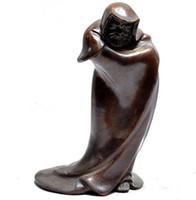 buddha schüsseln großhandel-Chinesische Bronze Arhat Ahnen Damo Dharma Bodhidharma Buddha Schüssel Statue