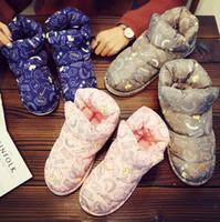 pato de látex venda por atacado-Mulheres Botas de Pato Para Baixo Casal de Inverno Botas Antiderrapante Fofo À Prova D 'Água Botas de Neve Interior Fora Bonito Tornozelo Sapatos Casa