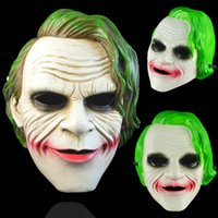 gummi maske haar großhandel-Joker Maske Fledermausmann Clown Kostüm Cosplay Film Adult Party Supplies Maskerade Gummi Latex Grüne Haare Masken Resinplastic für Halloween