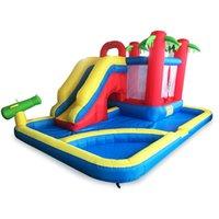 châteaux d'eau achat en gros de-Nouvelle conception combinée gonflable Bounce House château plein d'entrain glissière d'eau de puits de boule de Moonwak Party pour les enfants
