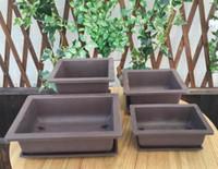 Wholesale Nursery Trays - Free shipping,rectangle Strawberry pots with tray, fleshy flowerpots, green plant pots, imitation zisha basin, bonsai pots, nursery