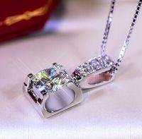 Wholesale heart diamond pendants - 2018 Fashion 3CT 925 Stelring Silver Wedding Engagement Sona Diamond Moissanite Pendant Necklace Band Jewelry Women Brithday Party Gift