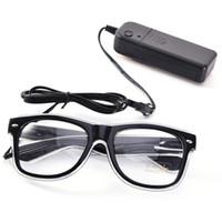светодиодные солнечные очки оптовых-Простой Эль очки Эль провод мода неоновые светодиодные затвора Shaped Glow солнцезащитные очки рейв костюм партии DJ яркие солнцезащитные очки