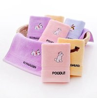 Wholesale wholesale baby cotton wash cloths - Cotton Kids Face Towel Cartoon Embroidered Baby Washcloth Absorbent Soft Towels Cleaning Washing Cloth 25*50CM 4 Colors YW658