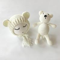 Wholesale Crocheted Bear - Newborn Photography Props Accessories Bear Hat Cap Doll Sets Infant Bebe Soft Bonnet Handmade Knitted Beanie Bear Toy