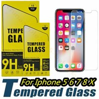 Wholesale phone guards - Tempered Glass Screen Protector Film Guard 9H Hardness Explosion Film For iphone 5 6 7 8 x Samsung Galaxy S6 s7 s8 s9 htc android phone