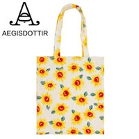 Wholesale eco handbag design resale online - 2018 Eco Reusable Shopping Bags Yellow Sunflower Grocery Packing Recyclable Bag Hight Simple Design Healthy Tote Handbag Fashion