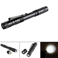 Wholesale wholesale pocket light pen online - LED Flashlight Outdoor Pocket Portable Torch Lamp Mode LM Pen Light Waterproof Penlight with Pen Clip