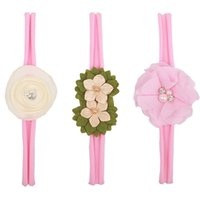 Wholesale Infant Princess Accessories - 2018 Baby Flower Headband White pearl Solid Color Girl Children Infant Baby Hairband Hair Accessories For Girls Princess Hairband 120001