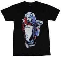 baba tişört toptan satış-Harley Quinn Mens T-Shirt-İntihar Kadro Tarzı babasının Küçük Canavar Görüntü Erkekler T Gömlek Yenilik O-Boyun Tops