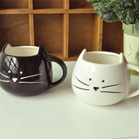 Wholesale ceramic couple resale online - Exquisite Kitten Cup Originality Glass Couple Tumber Ceramics Lovers Coffee Mug Happy Birthday Gift Arts Crafts Fashion ym bb