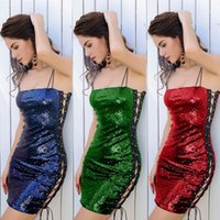 Wholesale Strap Tight Skirts - Sexy Sequined Bandage Tight Dress Chicken Eye Braces Long Skirt Multicolored Women Cordage Wrap Dresses Nightclubs Dresses 3 Colors AAA71