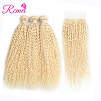 Wholesale hair extensions blonde curly - Rcmei Brazilian Human Hair 613#Blonde 3 Bundles Kinky Curly Human Hair Extension With 4*4 Lace Closure Kinky Curly Unprocessed Hair Bundles