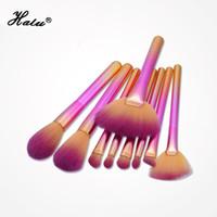 pro rosa make-up pinsel set großhandel-Halu 9 stücke Rosa / Blau Regenbogen Make-Up Pinsel Set Kit Pro Foundation Puder Kontur Pinsel Set Kosmetik Make-Up-Tool