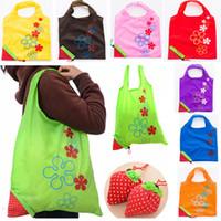 Wholesale strawberry reusable tote - Nylon Eco-Friendly Foldable Strawberry Shopping Bag Reusable Storage Handbag Colorful Household Shopping Bags Totes 51*37cm HH7-1051