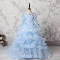 ingrosso il vestito da partito delle ragazze blu merletta in su-2018 Ice Blue Butterfly Appliques Girls Pageant Gowns Sheer Maniche lunghe Lace Up Back Flower Girl Dresses Tulle Tiered Baby Ball Gowns