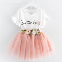 Wholesale Lace Top Tutu Skirt - Baby girls lace skirts outfits girls Letter print top+flower tutu skirts 2pcs set 2018 summer Baby suit Boutique kids Clothing Sets C3863