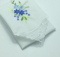 Wholesale children hankies - 6pcs  Lot 30cm Hot White Cotton Handkerchief Embroidered Square Towel Women Men Children Lace Christmas Lady Hanky Wedding Gift