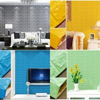 espuma de cor diy venda por atacado-Fundo da televisão Adesivos de Parede DIY Autoadesivo Espuma 3D Walls Etiqueta À Prova D 'Água Home Decor Multi Color 8 5as CY