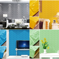 Wholesale Diy Resin Wall - Television Background Wall Stickers DIY Self Adhesive Foam 3D Walls Sticker Waterproof Home Decor Multi Color 8 5as C