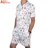 Wholesale Knee Length Rompers - Alisister Men 'S Rompers Short Sleeve Jumpsuit Romper Playsuit Beach Overalls One Piece Slim Fit Brand Clothing Dropship