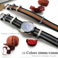 nato grupları toptan satış-İzle Man OMG 007 için Watchband 22mm 20mm Siyah Mavi Su geçirmez Dalış Naylon Nato İzle Band Kayışı Gümüş Paslanmaz Çelik Pin toka