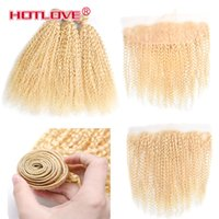 Wholesale 613 blonde hair weave curly online - 613 Blonde Bundles With Closure Peruvian Kinky Curly Bundles With Lace Frontal Closure Remy Human Hair Weaving Blonde Kinky Curly