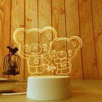 urso de toque da lâmpada venda por atacado-3D Pequeno Night-light Pequeno 2018 NOVO Pequeno Candeeiro De Mesa Lâmpada Do Presente USB Toque Remoto Controle Originalidade Cozy Lâmpada De Cabeceira 7 cor Duplo urso