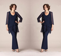 Dark Navy Chiffon Three Pieces Mother of the Bride Pant Suits Jackets Trousers 3 4 Long Sleeves Wedding Party Evening Groom Gowns BA9406