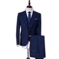 chalecos para hombres delgados al por mayor-Traje de novio flaco y elegante para hombre de boda 3 piezas (chaqueta + pantalón + chaleco)