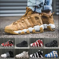 Wholesale Gold Bull - [With Box] Air More Uptempo SUPTEMPO Basketball Shoes OLYMPIC RELEASE Bulls Gold Varsity Maroon Black Mens Women Scottie Pippen Shoes