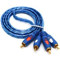 diviseur de câble rca achat en gros de-RCA Câble 2RCA Mâle à Mâle Câble Audio Plaqué Or Branchez Pour Casque Splitter Ordinateur Haut-Parleur Amplificateur Subwoofer AUX Câble AV