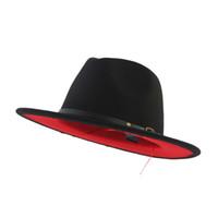 sombreros de lana roja al por mayor-Unisex plana Brim fieltro de las lanas del sombrero de ala con Cinturón Negro Rojo remiendo del jazz del sombrero formal Panamá Cap sombrero flexible Chapeau para Hombres Mujeres
