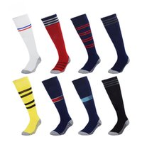 Wholesale blue green hose resale online - Men Soccer Socks Real Madrid Knee High Stockings Man Thicken Towel Bottom Long Hoses Paris City United Sports Socks Thai Quality