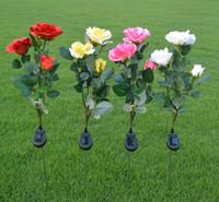 linternas de rosa al por mayor-3-Cabezas de Energía Solar Rose Flower LED Light Garden Patio Patio Lawn Decoration Lamps Simulación Linterna Artificial Flower Lighting