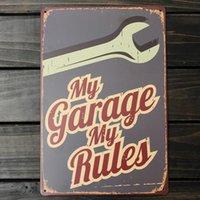 regra de metal venda por atacado-Minha Garagem Minhas regras Sinal Da Lata De Metal Do Vintage Cartaz Decorativo BAR Placa de Metal Placas de Parede Adesivo de Parede Pintura # 0926 Y18102409