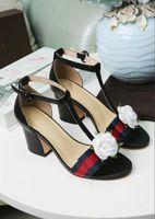 Wholesale girls kitten shoes - Designer 2018 New Luxury high Heels Leather mid-heel Brand sandal Women summer bowtie sandals Size 34-40 Girls summer wedding shoes