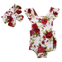 Wholesale clothes for babies resale online - 2PC Baby Girl Cute Floral Printed Halter Cotton Sleeveless Romper and Headband Casual Outfits Girls Clothes Set For M