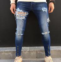 Wholesale blue denim dye - Men Denim Blue Jeans Ripped Holes Design Distressed Pencil Pants Zippers Design Elastic Long Trouser Mens Clothing