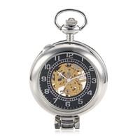 relógios de bolso de estilo antigo venda por atacado-Estilo antigo Ver Embora Caso Prata Dial Prata Esqueleto Steampunk Mão Vento Mens Relógio de Bolso Mecânico relogio de bolso