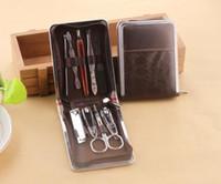 nagelknipser ledertasche großhandel-Neue Beauty Nail Art Werkzeuge Nagelknipser Nagelfeile Schönheit Schere Maniküre mit PU Ledertasche