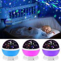 bebek tavan toptan satış-Renkli Takımyıldızı Tavan Projektör Gece Işığı Lambası Ay Yıldız Gökyüzü Dönen Bebek Çocuklar Için LED Lamba Romantik Lover Hediye NNA571 6 adet