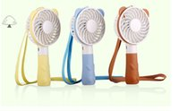 Wholesale usb operated fan - Portable Hand Fan Battery Operated USB Power Handheld Mini Fan Cooler with Strap Rechargeable Charging Cartoon Bear Rabbit