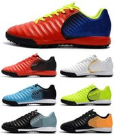 Wholesale New Cleats - 2018 New Cheap Hot Black Red Soccer Cleats Tiempo Legend VII TF Indoor Soccer Shoes Low Tiempo Ligera TF Turf Mens ACC Football Boots Shoes