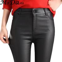 pantalones de cuero de imitación negro de las mujeres al por mayor-2018 mujeres del invierno pantalones de cuero de imitación Capris PU pantalones elásticos de cintura alta elástico delgado lápiz pantalones polainas mujer negro