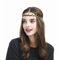 Wholesale rhinestone hair decorations - Headbands for Women Hair black Princess Hollow Hairband Simulation leaf stretch hair band Bezel cute Hair Accessories Party decoration 2018