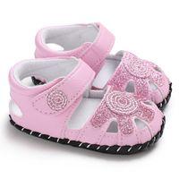 slip de algodón blanco para niñas al por mayor-Zapatos de niña recién nacidos Princess Hollow Out Cuna de algodón suave Infantil Infantil Little Sole Antideslizante First Walker Pink White