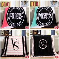 Wholesale Beach Wash - 4 Colors 130*150cm Pink Letter Blanket Soft Coral Velvet Beach Towel Blankets Air Conditioning Rugs Comfortable Carpet